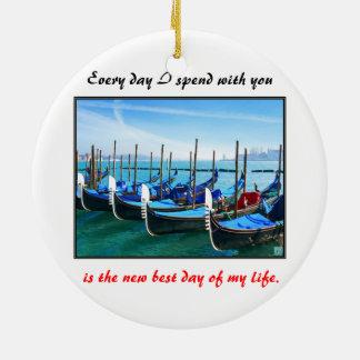 Venice Gandola with Love Quote Ceramic Ornament