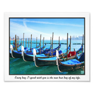 Venice Gandola with Love Quote Photo