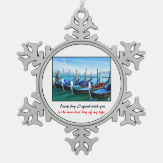 Venice Gandola with Love Quote Snowflake Pewter Christmas Ornament