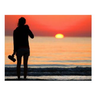 VENICE GIRL AT LIDO SUNSET POSTCARD