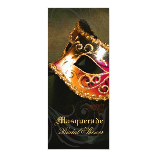 venice gold masquerade bridal shower invitation