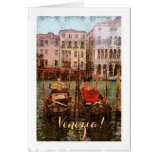 VENICE /GONDOLAS/ANCIENT BLDGS./CANAL/DIG.MANIP. NOTE CARD