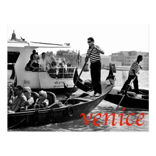 VENICE GONDOLERS ON THE GRAND CANAL POSTCARD