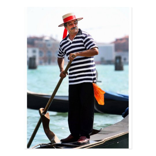 VENICE GONDOLIER WITH HIS HAT POSTCARD