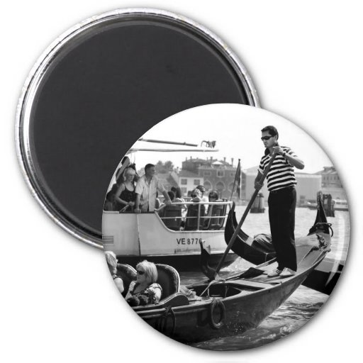 VENICE GONDOLIERS IN BLACK AND WHITE REFRIGERATOR MAGNET