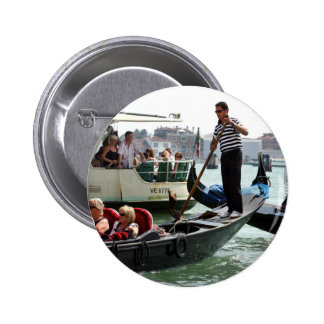 VENICE GONDOLIERS ON THE GRAND CANAL PINBACK BUTTONS