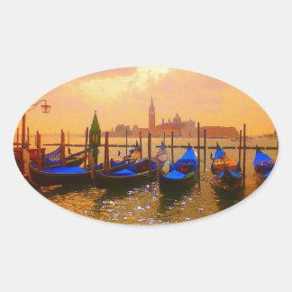 Venice Grand Canal & Gondolas Italy Travel Artwork Oval Sticker