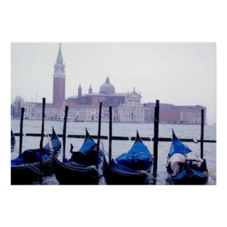 Venice Grand Canal & Gondolas Italy Travel Poster
