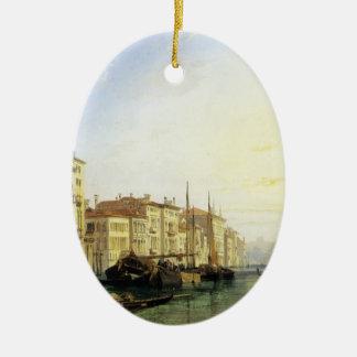 Venice Grand Canal, Sunset by Richard Bonington Double-Sided Oval Ceramic Christmas Ornament