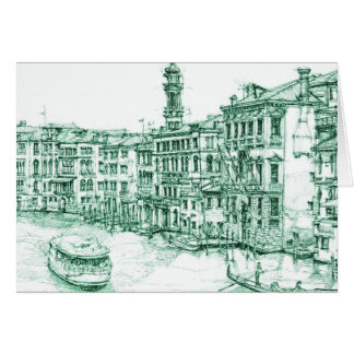 Venice in green ink card