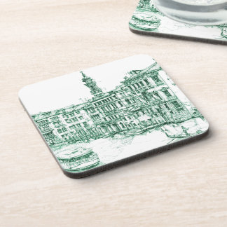 Venice in green ink coaster