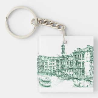 Venice in green ink keychain