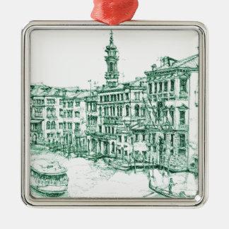 Venice in green ink metal ornament