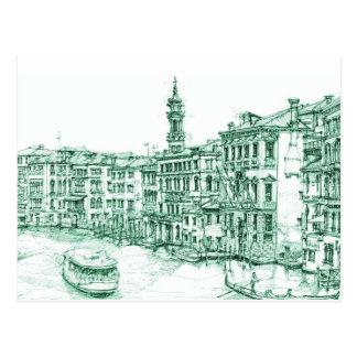 Venice in green ink postcard
