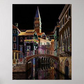 Venice in Neon Poster