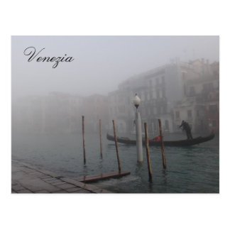 Venice in the fog with gondolier postcard