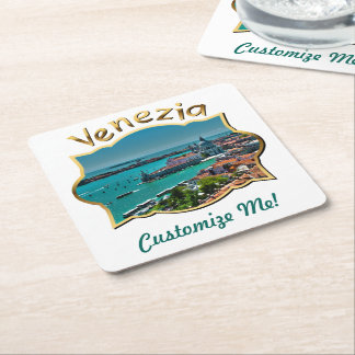 Venice, Italy - Aerial View Square Paper Coaster