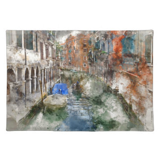 Venice Italy Boats in the Canal Cloth Placemat