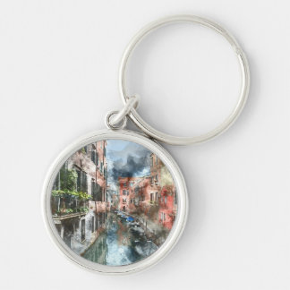 Venice Italy Boats in the Canal Keychain