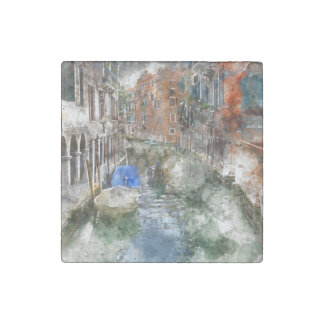 Venice Italy Boats in the Canal Stone Magnet