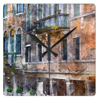 Venice Italy Buildings Square Wall Clock