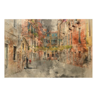 Venice Italy Buildings Wood Print