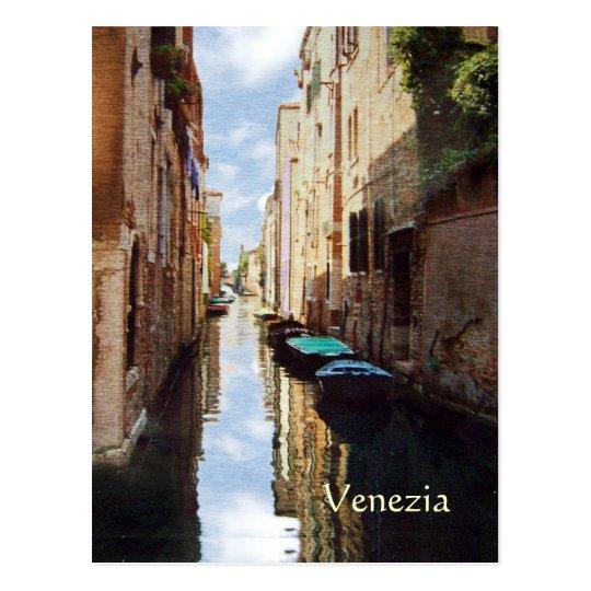 Venice, Italy Canal Mezzotint Postcard