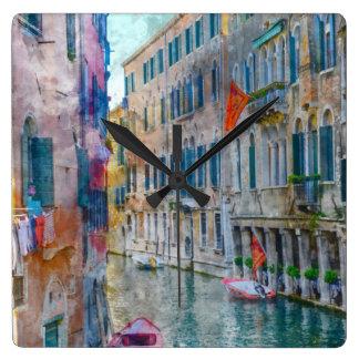 Venice Italy Gondola Grand Canal Square Wall Clock