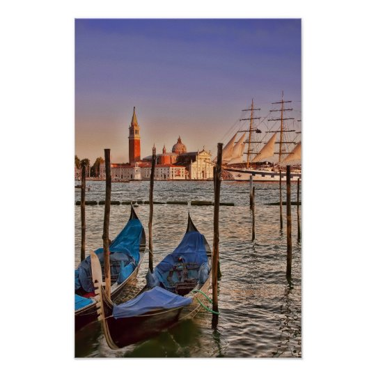 Venice, Italy Gondolas And Sailboat Poster