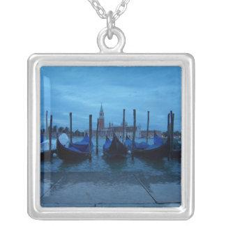 Venice Italy Gondolas Square Pendant Necklace