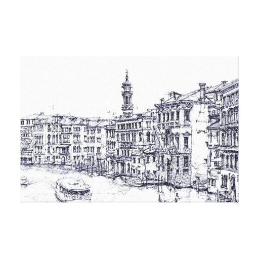 Venice, Italy, in ink Canvas Print