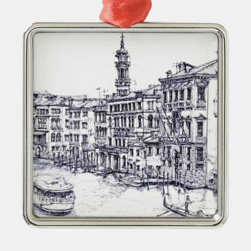 Venice, Italy, in ink Christmas Tree Ornament