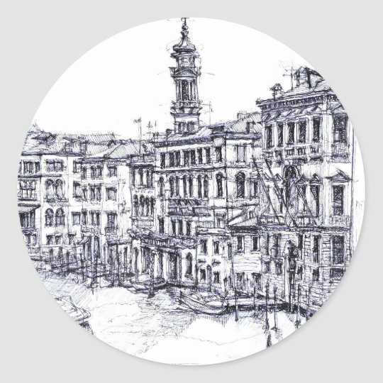 Venice, Italy, in ink Classic Round Sticker