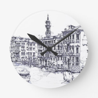 Venice, Italy, in ink Round Wall Clock