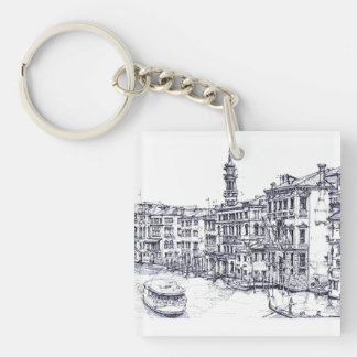 Venice, Italy, in ink Keychain