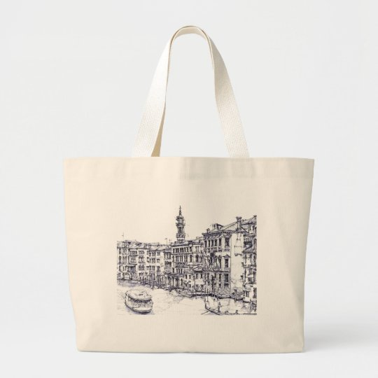 Venice, Italy, in ink Large Tote Bag