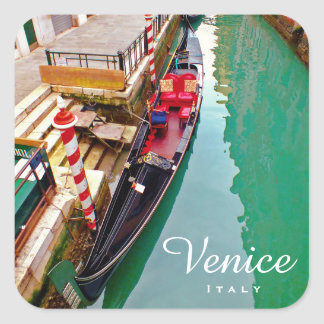 Venice, Italy (IT) - Colorful Gondola Station Square Sticker