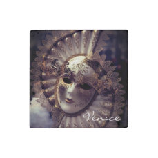 Venice, Italy (IT) - Mysterious Carnival Mask Stone Magnet