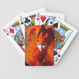 Venice, Italy (IT) - Orange Carnival Costume Bicycle Playing Cards