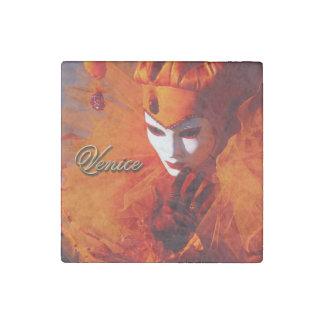 Venice, Italy (IT) - Orange Carnival Costume Stone Magnet