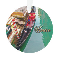 Venice, Italy (IT) - Two Colorful Gondolas Ornament