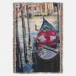 Venice Italy Ornate Gondola in Canal Throw Blanket