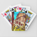 """Venice Italy Playing cards &amp; monogrammed letters<br><div class=""""desc"""">Vintage image from an early 29th century photograph of Venice,  Italy playing cards with optional owner&#39;s initials.</div>"""