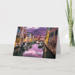 Happy Birthday from Venice at Sunset Card