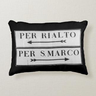 Venice, Italy Sign for Rialto & San Marco - Cushio Accent Pillow