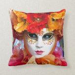 Venice Italy: Woman´s Venetian carnival mask, Throw Pillow