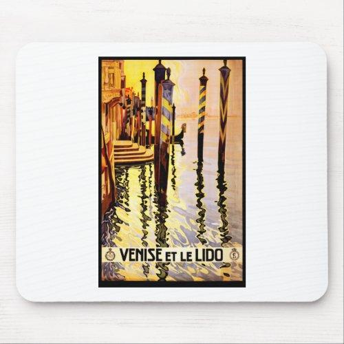 Venice Lido vintage travel poster Mouse Pad