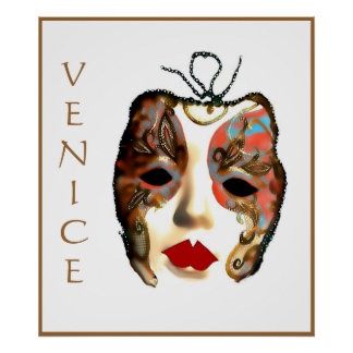 VENICE MARDI GRAS, Italy, art poster