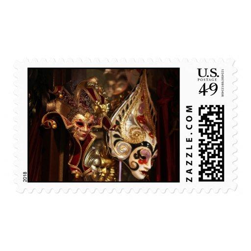 Venice masks postage stamp