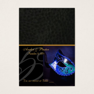 Venice Masquerade Mask Blue Placecard Business Card
